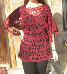 Burgundy Hairpin Lace Crochet Tunic by CasadeAngelaCrochet on Etsy, $105.00