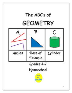 """This picture book project is intended for grades 4-7.  Students, working independently or in small groups,  locate a geometry term for each letter of the alphabet (""""A"""": angle, acute angle, adjacent angle, area, arc).  Picture book includes title, example and sentence on each page."""