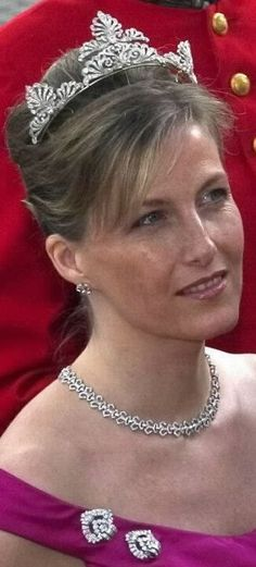 Sophie, Countess of Wessex attending the wedding of Crown Prince Frederick of Denmark & Mary Donaldson in Copenhagen in May 2004. Sophie is wearing the diamond Art-Deco clip brooches given to her by the Queen Mother & her wedding tiara.