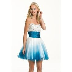 Short Ombre Strapless Prom Dress - Polyvore