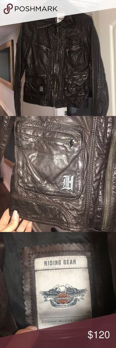 Harley Davidson leather jacket Dark Brown Harley Davidson Premium Leather Jacket Medium Never worn  Medium weight - leather is thicker and will keep you warm while riding. Harley-Davidson Jackets & Coats