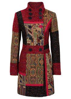 Płaszcz w połączeniu różnych materiałów i wzorów • 319.99 zł • bonprix