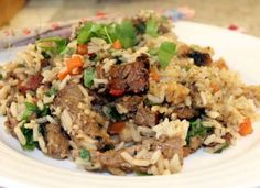 I may have mentioned cooking a big butterflied leg of lamb over the weekend….Well I have lots of meat leftover as I seemed to have . Fried Rice, Beef, Cooking, Ethnic Recipes, Food, Gastronomia, Meat, Eten