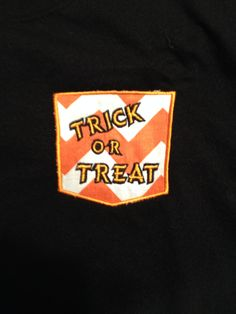 Halloween Pocket Tee Trick of Treat  Find us on FB  https://www.facebook.com/pages/Gigis-Pick-Stitch-Creations/611663832197866