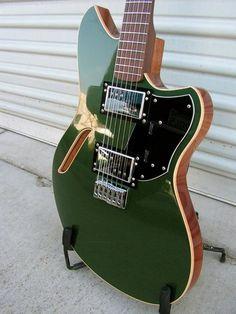 custom electric guitar in British racing green