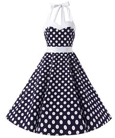 9b1aeee04d7e Dresstells Vintage Rockabilly Polka Dots Audrey Dress Retro Cocktail Dress  Brown White Dot     You can get additional details at the image link.