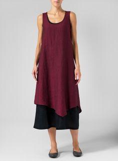 Linen Double Layered Long Dress Two Tone Burgundy Wine/Black