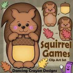 Squirrel clip art... perfect for creating your own teaching resources.  Squirrel can hold an acorn or leaf.  Create your own beautiful match-up games and bulletin board displays for fall.