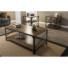 Pairing iron metal frame with distressed finishing wood board, this occasional table set is a striking centerpiece set for your living room.