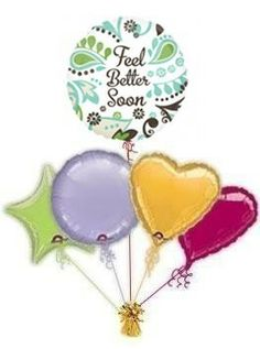 """Send Get Well balloons to cheer some one up when they are feeling poorly """"Teal & Brown"""" get well balloon in a box from the Balloon Kings. By free balloon post. Get Well Balloons, The Balloon, Teal, Wellness, Brown, Free, Brown Colors, Turquoise"""