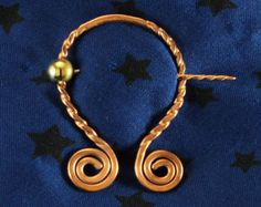 Penannular, small, think gauge, forged copper, symmetrical spirals 001