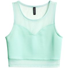 H&M Cropped top (37 GTQ) ❤ liked on Polyvore featuring tops, shirts, crop tops, tank tops, mint green, mint crop top, sleeveless tops, green shirt, sleeveless shirts and mesh shirt