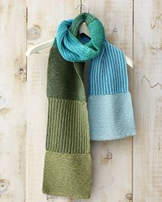 Mountain Mist Scarf - With pretty, light yarn colors, this free knitting pattern evokes the look and feel of a morning on the lake.