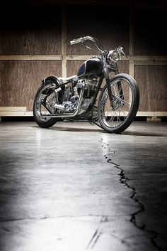"Mooneyes Triumph Bobber | Built by The Factory Metal Works for Shige Suganuma – the man who revived the iconic American Hot Rod supplier Mooneyes, the motorcycle had to capture the custom Hot Rod heritage of this classic company. Silodrome declares, ""The completed bike is a timeless classic that could have been built in any of the last 6 decades, it's very unlikely that this fundamental shape will go out of style anytime soon."""