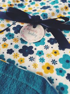 Blue Floral Double Sided Flannel Baby Blanket by DefinitelyBabyShop