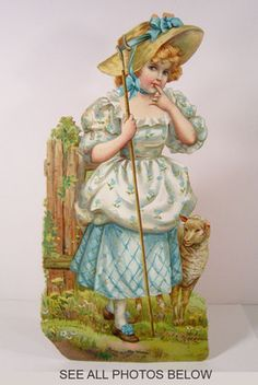 "TUCK - LITTLE BO PEEP & Lamb - 13"" High DIE CUT Stand Alone PAPER DOLL - 1900/10"