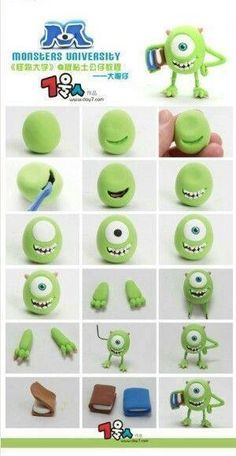 Fimo Fondant Monster Inc. Monster And Cie, Monster Inc Cakes, Monster Inc Party, Polymer Clay Projects, Polymer Clay Charms, Diy Clay, Clay Crafts, Monster University Personajes, Fimo Disney