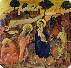 Duccio di Buoninsegna - Predella della Maestà (fronte) - La fuga in Egitto - 1308-11 - Tempera e oro su tavola - Museo dell'Opera del Duomo, Siena