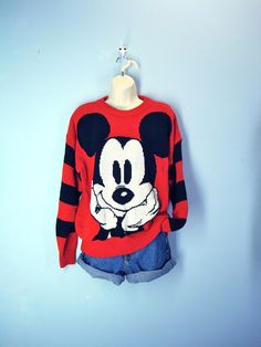 Mickey Mouse Sweater / 1980s Slouchy Disney Sweater, via ...