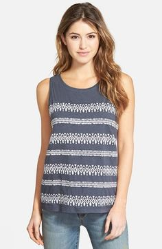 Caslon® Embroidered Slub Tank (Regular & Petite) available at #Nordstrom