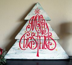 "Merry Christmas Tree Shaped Wooden Sign  13"" x 14 1/2"" Hand Painted Wooden Sign"