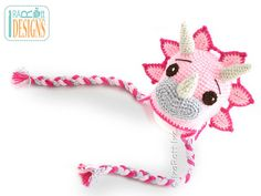Pink Cera Tops the Triceratops Dino Handmade Crochet Hat  Made to ORDER