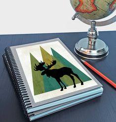 Artist Shanni Welsh's Woodland Moose writing sketchbook. Journal. Spiral notebook. Woodland print design. Woodland Moose art print. Home Accessory. Customizable.