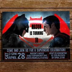Batman vs Superman Birthday Invitation-Batman vs Superman Digital Printable…