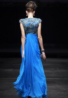 Long Elegant Electric Blue Evening Bridesmaid Dress Back