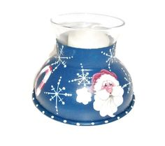 Hand Painted Santa Candle Holder Upcycled Funnel - pinned by pin4etsy.com