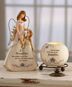 Angel Themed Gift Set Sentiment Figurine Tea Light Holder Daughter Sister Friend