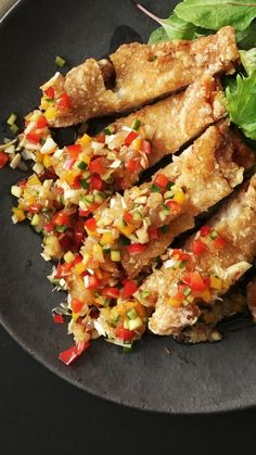 Recipe with video instructions: Because fried chicken doused in grapefruit salsa and eaten with chopsticks is always better. Fried Chicken Recipes, Chinese Fried Chicken, Good Food, Yummy Food, Diy Food, Food Dishes, Asian Recipes, Food Videos, Food Porn