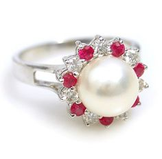 pearl center, ruby diamond accents