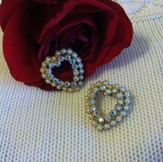 Heart Brooches Set of 2 Mid Century Retro Pearl by PamsPawsJewelry