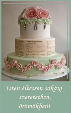 Pink & Green Wedding Cake ~ All Edible Gorgeous Cakes, Pretty Cakes, Cute Cakes, Amazing Cakes, Super Torte, Shabby Chic Cakes, Bolo Cake, Tier Cake, Gateaux Cake