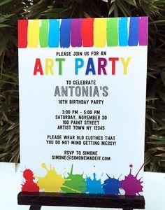 Art Birthday Party Theme Invitations | Paint Party | DIY Editable Template