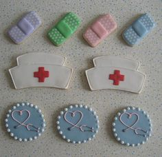 Nurse Cookies! How cute are these?? I might have to show my co-worker and friend that just happens to be the MOST amazing cake decorator I know.
