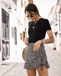 Cute Summer Outfits, Cute Casual Outfits, Spring Outfits, Summer Fashion Outfits, Mode Outfits, Skirt Outfits, Vetement Fashion, Look Girl, Look Boho