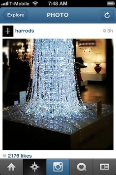 Cascading crystals at Harrods dept. store.