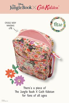 Little ones will love carrying their Bare Necessities in this special handbag from the Jungle Book x Cath Kidston range. Made from cute and colourful Jungle Ditsy print oilcloth, the zip top bag has a front slip pocket and adjustable stripy strap. New Handbags, Cross Body Handbags, Cath Kidston Disney, Old Disney, Bare Necessities, Kids Backpacks, Book Collection, I Am Awesome, Friday
