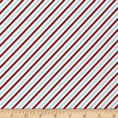 Riley Blake Pixie Noel Stripe Red from @fabricdotcom  Designed by Tasha Noel for Riley Blake Designs, this cotton print collection is perfect for bringing a pastel and retro look to your christmas quilts, apparel, and home decor accents. Colors include red, aqua, and white.