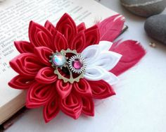 Kanzashi flowers/Kanzashi hair clip/Red Pink White flower girls hair clip/Girls hair accessories  100% handmade for sure! d flower - 2.95 inches d flower with feathers - 5,12 inches Ready to ship