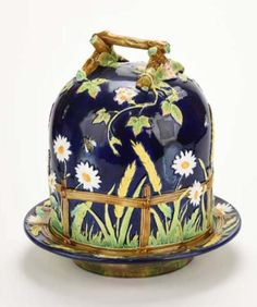 George Jones Majolica, cobalt blue, Wheat and Daisy Cheese Dome and Underplate. England, 1870's