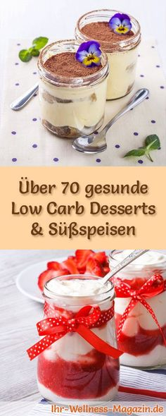Over 70 healthy low carb dessert recipes - healthy dessert - Over 70 low-carb recipes for desserts in glasses and desserts: reduced calories, no added sugar, he - Quick Easy Desserts, Low Carb Desserts, Healthy Dessert Recipes, Low Carb Recipes, Desserts Sains, Calories, Snacks, Food, Cheers