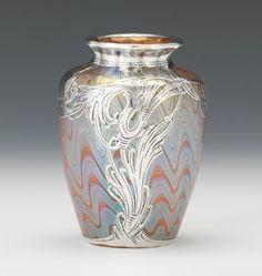 "228. Loetz Silver Overlay "" Phanomen"" Art Glass Vase - Featuring the Estate of Joseph T. Gorman - ASPIRE AUCTIONS"