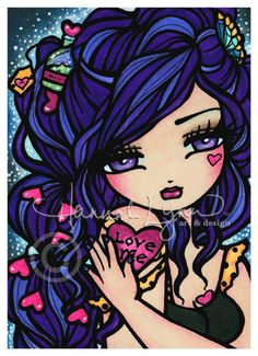 Heart on her Sleeve, love potion in her hair....sound familiar to some girls out there? :) ACEO Heart on Her Sleeve Mermaid Fairy Fantasy by hannahlynnart, $2.50