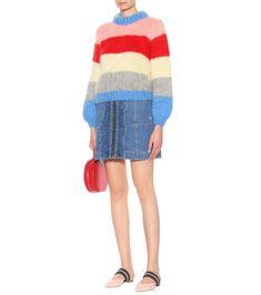 Mulitcoloured Striped Julliard mohair and wool sweater