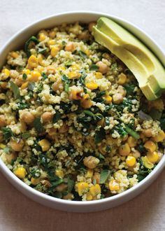 Lemony Millet Salad with Chickpeas, Corn, and Spinach focuses on simplicity and fresh flavors. Wrap it in a tortilla or collard leaf with fresh herbs, or try it atop a bed of fresh greens. Add some avocado slices and enjoy!