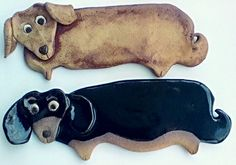 Dachshund Rusty Brown  Dog Teaspoon Rest, stoneware clay, by sugargrovepottery via Etsy. What a fun way to park spoons!