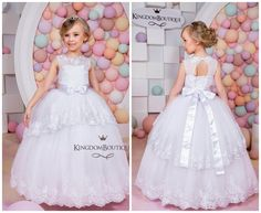 Encaje blanco vestido de la muchacha de flor - fiesta de cumpleaños de Novia de fiesta de Dama de honor blanco de encaje y Tul 15-022